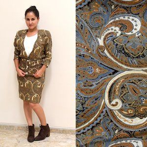 80s Paisley Skirt Set of Blazer and Pencil Skirt